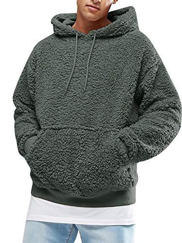 Gemijacka Pullover Herren Hoodie Herren Kapuzenpullover Plüsch Hoodie Sweatshirt Teddy-Fleece Pullover mit Taschen, Dunkelgrün, XXL