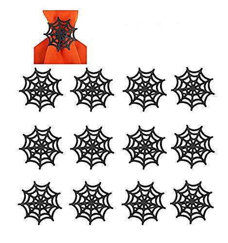 Kürbis-Spinnen-Serviettenringe, Metalllegierung, Serviettenschnallen, Halter für Halloween, Thanksgiving, Weihnachten, Dinner-Partys (schwarzes Spinnennetz, 12 Stück)