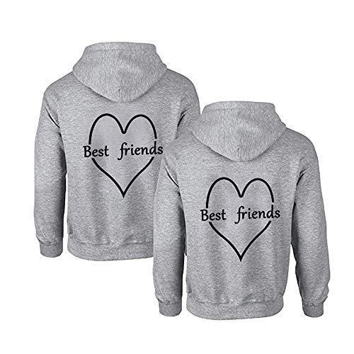 1 Stück Sister Pullover für Zwei Mädchen Beste Freunde Pullover Sister Hoodies BFF Hoodie für Best Friends Kapuzenpullover Damen Pulli Freundin Geschenke (S?1 Stück?,Grau)