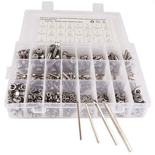 N/A Hsagdas 520 PCS 304 Edelstahlschrauben und Muttern M3 M4 M5 M6 Sechskantschrauben Dichtung Schlüssel Sortiment Set Kit