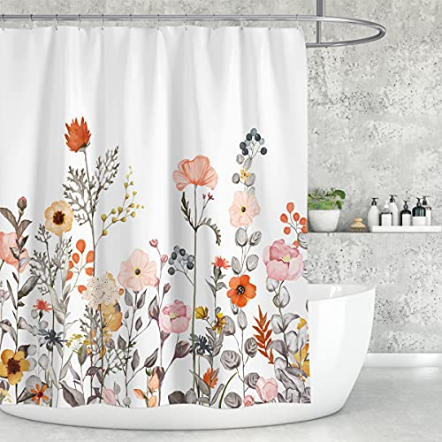 AUSOMGOO Floral Shower Curtain 72 x 72 Inch, Plant Shower Curtain for Bathroom, Waterproof Orange Flower Shower Curtains, Botanical Polyester Fabric Shower Curtains, Bathtub Curtain with 12 Hooks