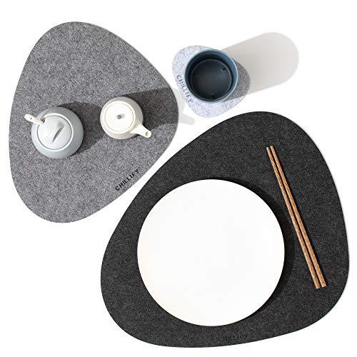 chillify Filz-Platzmatten und Untersetzer edles Stein-Design - Filz-Tischmatte Platzset 6er Set - rutschfest, hitzebeständig, Maschinen-waschbar - DREI Graustufen