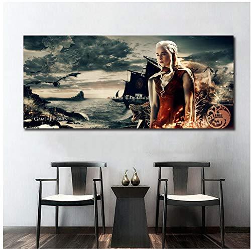 A&D Game of Thrones Khaleesi Poster Daenerys Dragons Druckt Haus Targaryen Wandkunst Dekorative Bild Tv Bild Kunstwerk -40x90 cm Kein Rahmen