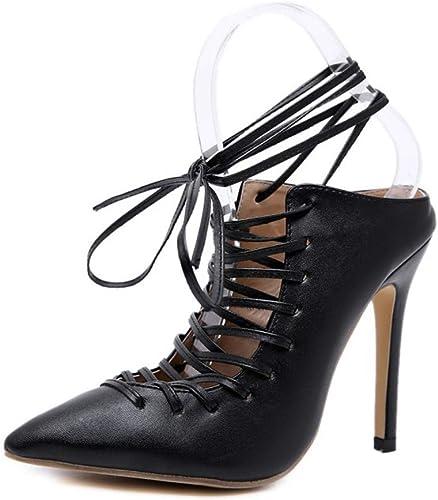 HRN Femmes Sandales artificielles PU Pointu Talon Superfine Sangle Mode Pantoufles Printemps et d'été Style Britannique
