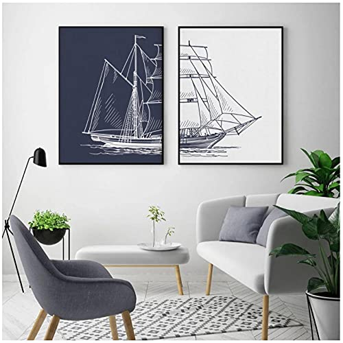 Xuetaozz Cartel nórdico de vela pintado a mano, barco náutico, lienzo, pintura, arte de pared, impresión, barco, ilustraciones de la marina, sala de estar, imagen para decoración del hogar, 50x70cmx2