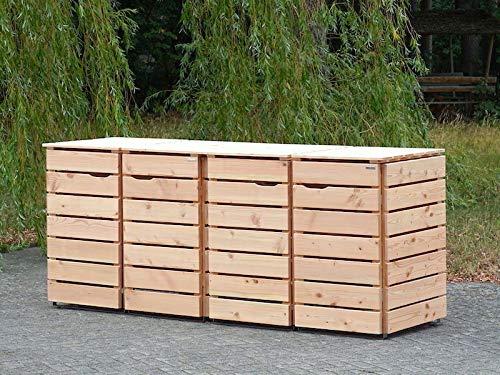 4er Mülltonnenbox / Mülltonnenverkleidung 240 L Holz, Douglasie Natur - 10