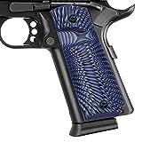 Guuun 1911 Grips G10 Full Size 1911 Grip Ambi Safety Cut Big Scoop Sunburst Texture - Blue