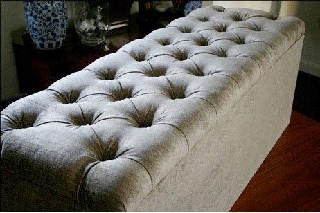 mm08enn Chenille Fabric Large Ottoman