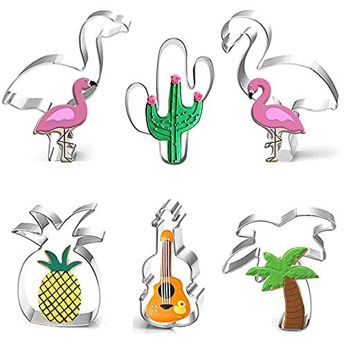 Flamingo Ausstecher Set,6 Stück Edelstahl Ausstecher,Flamingo, Ananas, Palme, Kaktus und Gitarre Plätzchen Ausstecher,für DIY Fondant,Weihnachten und Hochzeiten