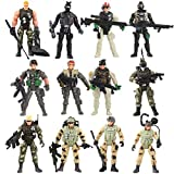 Liberty Imports 12 Pack - Special Forces Army Combat SWAT Soldier Action Figures with Military Weapons and Accessories (4-Inches)