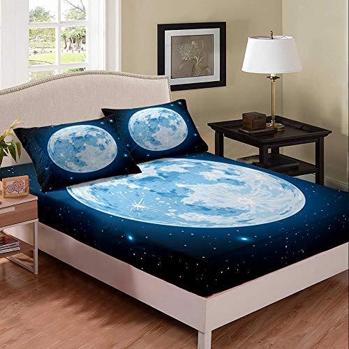 Set di lenzuola per letto singolo, con motivo a stelle e luna scintillanti, per bambini, ragazze, donne, adulti, universo scuro, collezione 2 pezzi