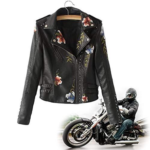 KFGJ Kunstlederjacke Damen Blumen Bestickt Jacke mit Reißverschluss,Women's Floral Embroidered Faux Leather Moto Jacket,Motorradjacke Bikerjacke Übergangsjacke Oberbekleidung L Schwarz