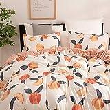 Peach Bedding Cute Queen Duvet Cover Set Soft Striped Duvet Cover with 1 Duvet Cover and 2 Pillowcases(Peach Queen)