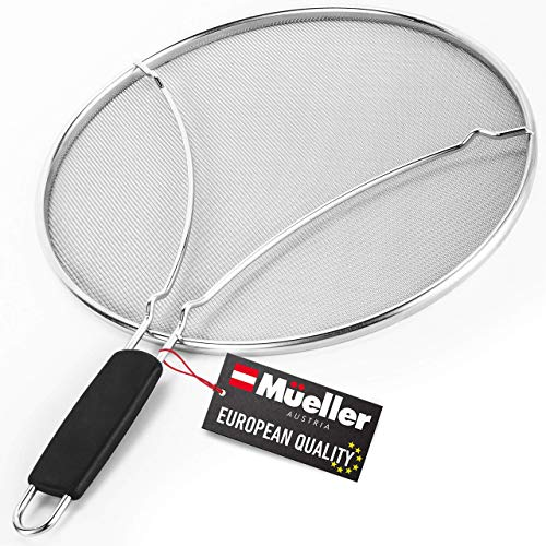 "Mueller Grease Splatter Screen for Frying Pan 13"", Ultra Fine Mesh Prevents 99% of Splatter Messes, Splatter Guard Shield for Safe Cooking with Resting Feet, Stainless Steel"