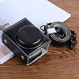 多機能 キヤノンのPowerShot G7Xマーク2 G7XIIデジタルカメラ用G7XII PUレザーカメラ保護袋、ストラップ付き(ブラック/コーヒー/ブラウン) (Color : Black)