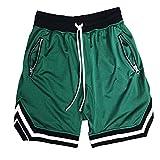 Burkashear Pantalones cortos deportivos de entrenamiento de gimnasio para hombre, entrenamiento de correr, botines con cordón, cinturón elástico, pantalones de playa, de secado rápido Verde XXL