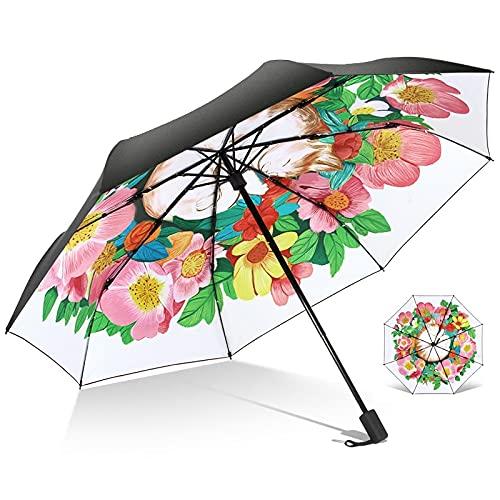 DJMJHG Anti-UV For Women Gift Fashion Windproof Frame Ladies Rain Sun 3 Fold Flower Compact Umbrellas