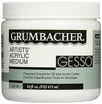 Grumbacher Gesso  Hyplar  Artists  Acrylic & Oil Paint Medium 16 oz Jar  0146640448  Packaging May Vary White 16 Fl Oz