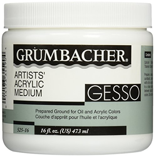 Grumbacher Gesso (Hyplar) Artists' Acrylic & Oil Paint Medium, 16 oz. Jar (0146640448), Packaging May Vary, White