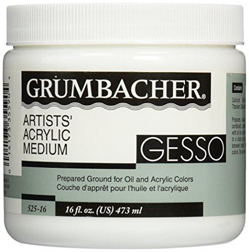 Grumbacher Gesso (Hyplar) Artists' Acrylic & Oil Paint Medium, 16 oz. Jar (0146640448), Packaging May Vary, White