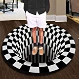Fansu Alfombra Redonda, Alfombra a Cuadros En Blanca y Negra, 3D Vortex Ilusión Alfombra Antideslizante Alfombrilla para Área De Sala De Estar, Habitación, Dormitorio, Estudio (geometría,100cm)