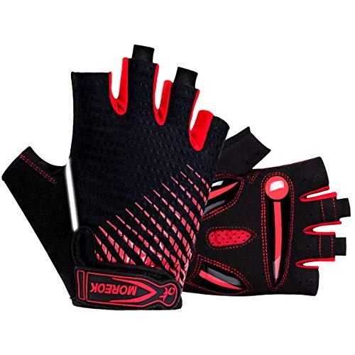 BTNEEU, guanti da ciclismo senza dita con gel a mezze dita, per uomo e donna, traspiranti, antiscivolo, guanti per mountain bike, allenamento, fitness, sport (rosso)