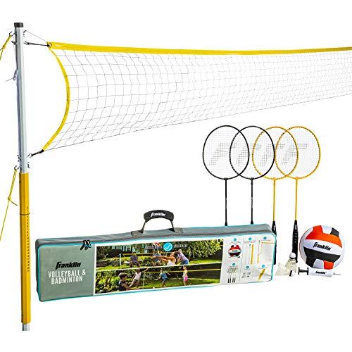 Franklin Sports Volleyball & Badminton-Kombi-Set – Tragbares Hinterhof-Volleyball & Badminton-Netz Set – Volleyball, Schläger & Birdie enthalten – Familie, Modell: 50611