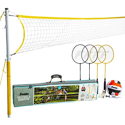 Franklin Sports Volleyball & Badminton-Kombi-Set – Tragbares Hinterhof-Volleyball & Badminton-Netz Set – Volleyball, Schläger & Birdie enthalten – Familie, Modell: 50611