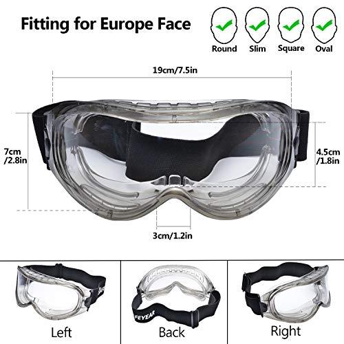 SAFEYEAR Schutzbrille Arbeitsbrille für Brillenträger - SG007 mit Seitenschutz und Rutschfesten Bügeln UV-Schutz mit Lüftung Gartenarbeit (Transparent) - 5