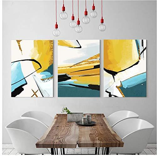 Minimalista arte abstracto en color A2 A3 A4 lienzo pintura impresión cartel imagen pared sala de estar dormitorio oficina decoración del hogar 30x40cm (12x16in) × 3