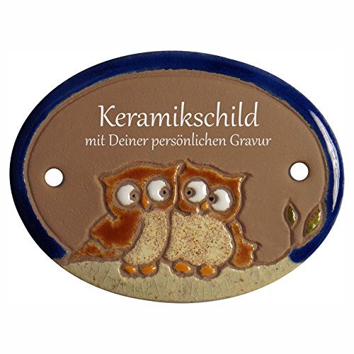 Handarbeit aus Schleswig-Holstein Keramikschild 8,5 x 6,5 cm Motiv kleines Eulenpaar (braun)