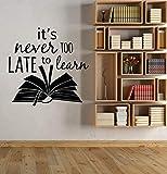wopiaol Décoration Murale Slogan inspiré bibliothèque Salle de Lecture vinylePositif devis Autocollant pour Salle de Classe Enfants décoration