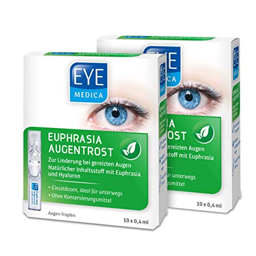 EyeMedica Euphrasia Augentrost, Euphrasia Augentropfen mit Hyaluron, zur Linderung bei gereizten Augen, für alle Kontaktlinsen geeignet, ohne Konservierungsstoffe, 2 x 10 x 0,4 ml Augen-Tropfen