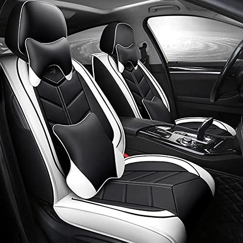 Auto Sitzbezüge Set, Vorn und Hinten 5 Sitze, Kompletter Satz Universal-Ledersitzbezüge für Vier Jahreszeite,Weiß