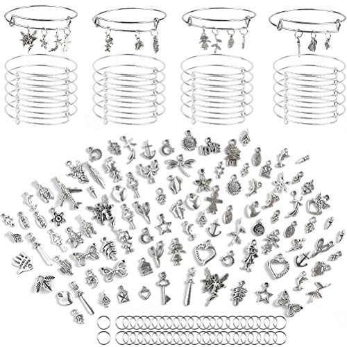 OFNMY 30Pcs Adjustable Expandable Wire Blank Stainless Steel Bangle Bracelet with 100 Pcs Tibetan Silver Charm Pendant Assorted and Extra 100 Pcs Open Rings for DIY Craft Jewelry Making