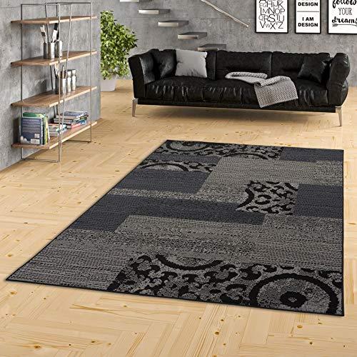 TRENDLINE - Alfombra Moderna - diseño de Patchwork - Gris Negro - 5 tamaños
