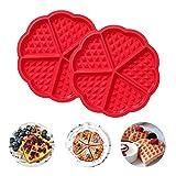 2Pcs Molde para hornear gofres de silicona en forma de corazón, molde para muffins de panqueques de 5 cavidades, herramienta de decoración casera para hornear, rojo