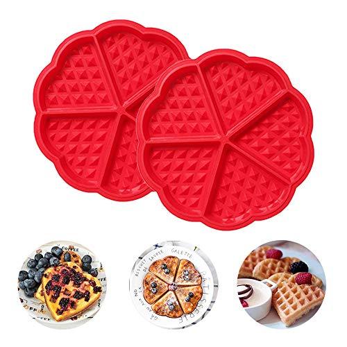 RETON 2 stampi in silicone a forma di cuore per cialde e muffin, 5 cavità, per pancake e muffin fai da te, strumento per la decorazione della cottura in casa, colore: rosso