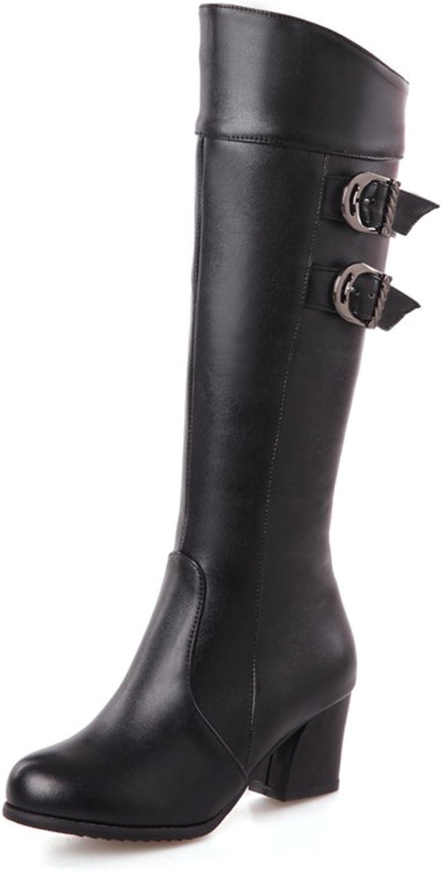 Fashion Heel Womens Round Toe Chunky Heel Knee High Buckle Boot with Side Zip Black