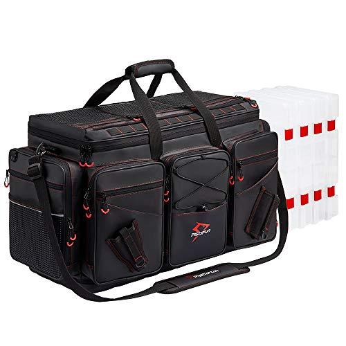 Piscifun Travel Pro Angeltasche mit 4 Tabletts, groß, wasserdicht, Angeltablett, Taschen, Outdoor, Angelzubehör, Aufbewahrungstasche mit 3700 Tackle Boxes XL