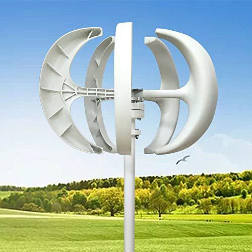 OUKANING Windturbine 600W 12V Vertikale Lantern Wind Turbine Generator+ Controller weiß Nylonfaser