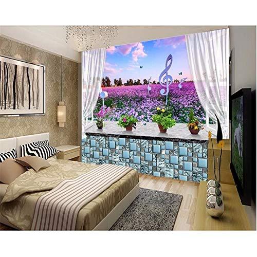 Wuyyii behang voor muren in rollen vensterbank Lavendel Bloem Zee 3D muurschildering Kids kamer behang achtergrond Wallhome interieur 280x200cm