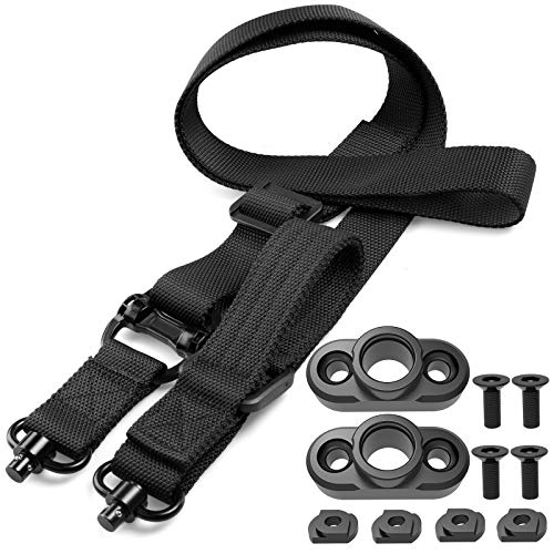 SMALLRT Rifle Sling Quick Adjust 2 Point QD Sling with QD Sling Swivel, 2 PCS QD Sling Mount for Mlok Rail Push Button Quick Release Sling Attachment, Quick Disconnect Sling with Fast Thumb Loop