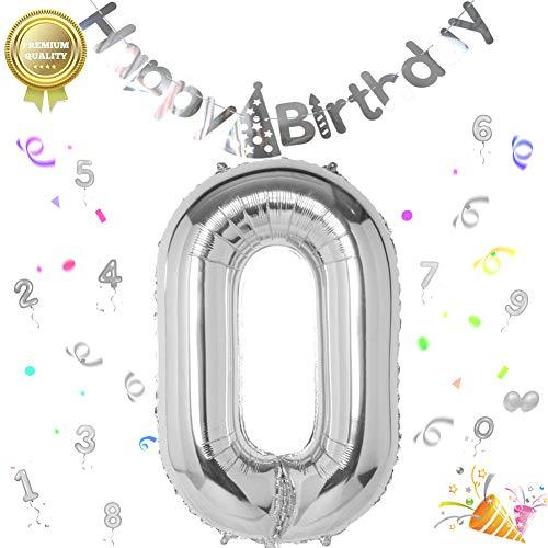 Sunshine smile Folienballon Zahl in Silber,Luftballon Zahlen,Riesige Folienballon,Zahl Geburtstagsdeko,Geburtstag Dekoration bunt,Party Supplies Folienballon im Zahlen-Design (0)