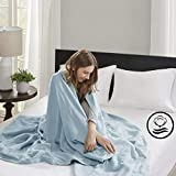 Madison Park Liquid Cotton Luxury Blanket Premium Soft Cozy 100% Ring Spun Cotton For Bed , Couch or Sofa, Full/Queen, Light Blue