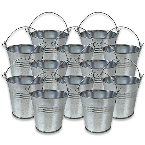 Just Artifacts Mini 3-Inch Height Metal Crayon/Pencil Holder Favor Bucket Pail (12pcs, Galvanized) - Metal Favor Buckets and Craft Supply Holders for School, Birthday Parties and Events!