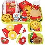 GeyiieTOYS Kinderküche Lebensmittel Spielzeug Essen Spielen Set, DIY Hamburger, Schneiden Obst Geschenk für Jungen und Mädchen