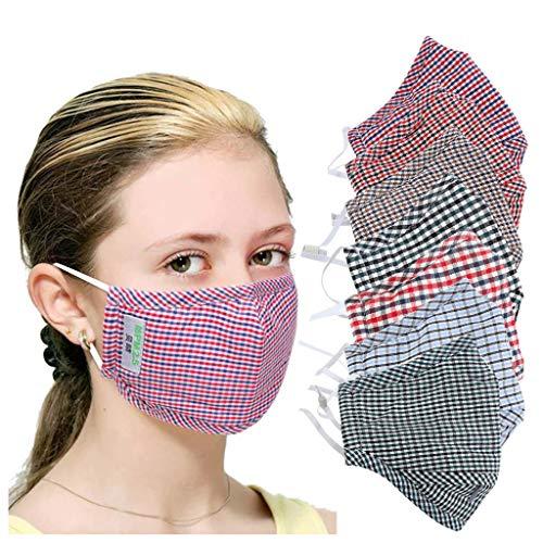 Ruealey 7 Stück Mundschutz mit Motiv Baumwolle Stoff Mund- und Nasenschutz Waschbar Wiederverwendbar Mund- und Nasen Gesichtsbedeckung Multifunktional Halstuch Schlauchtuch mit 14PCS Filter