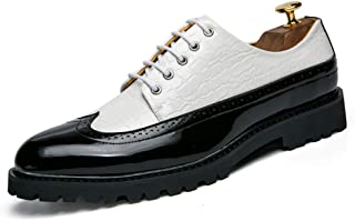 Men's Business Oxford Casual Personality Prosperous Raincoat Crocodile Skin Patent Leather Brogue Shoes casual shoes (Color : White, Size : 41 EU)