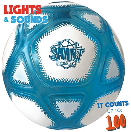 Smart Ball SBCB1B Football Gift for Boys Girls Age 3,4,5,6,7,8,9,10,12+ Years Old Kick Up Counting Power Ball with Glow Lights and Sounds Training Kids, White & Blue